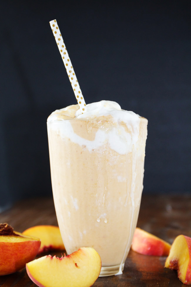 A delicious peaches and cream milkshake