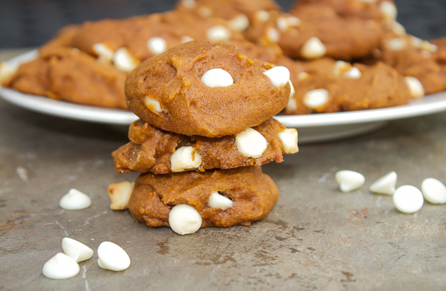 Pumpkin Pie Cookies with White Chocolate Chips