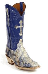 Black Jack Cream & Blue Python Cowboy Boots
