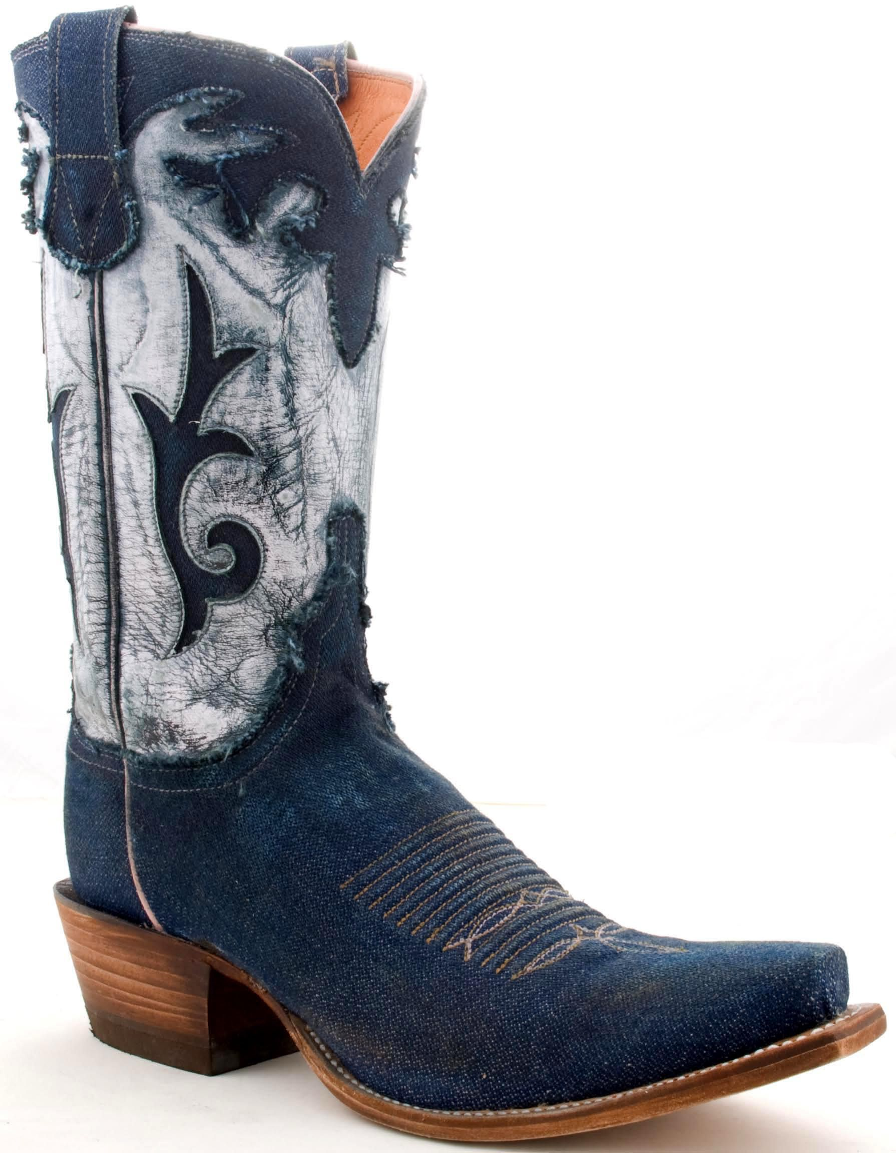 Stonewashed Denim Cowboy Boots