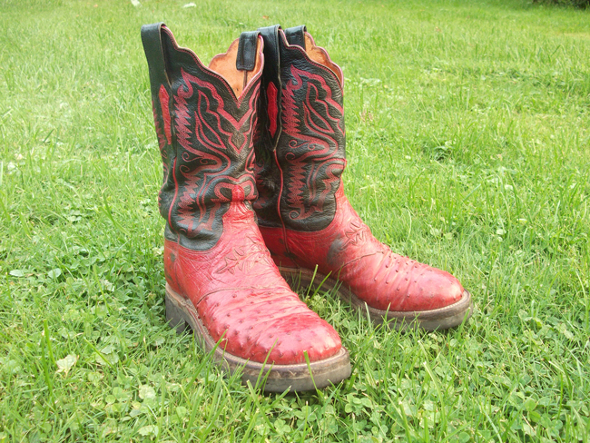 red Lucchese Classic cowboy boots