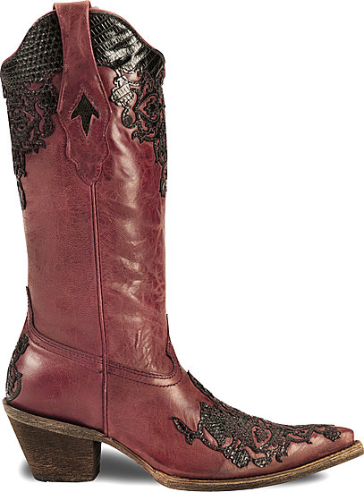 Corral Red & Black Cowboy Boots