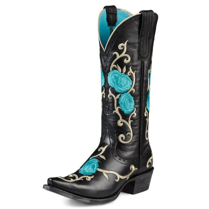 Blue & black Ariat cowboy boots