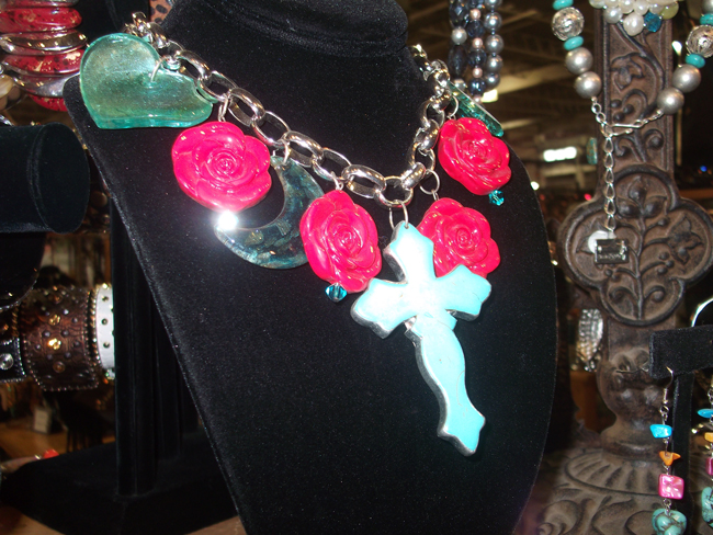 chunky western flower and cross necklace