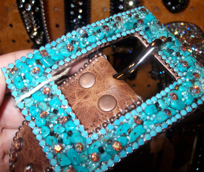 square turquoise buckle