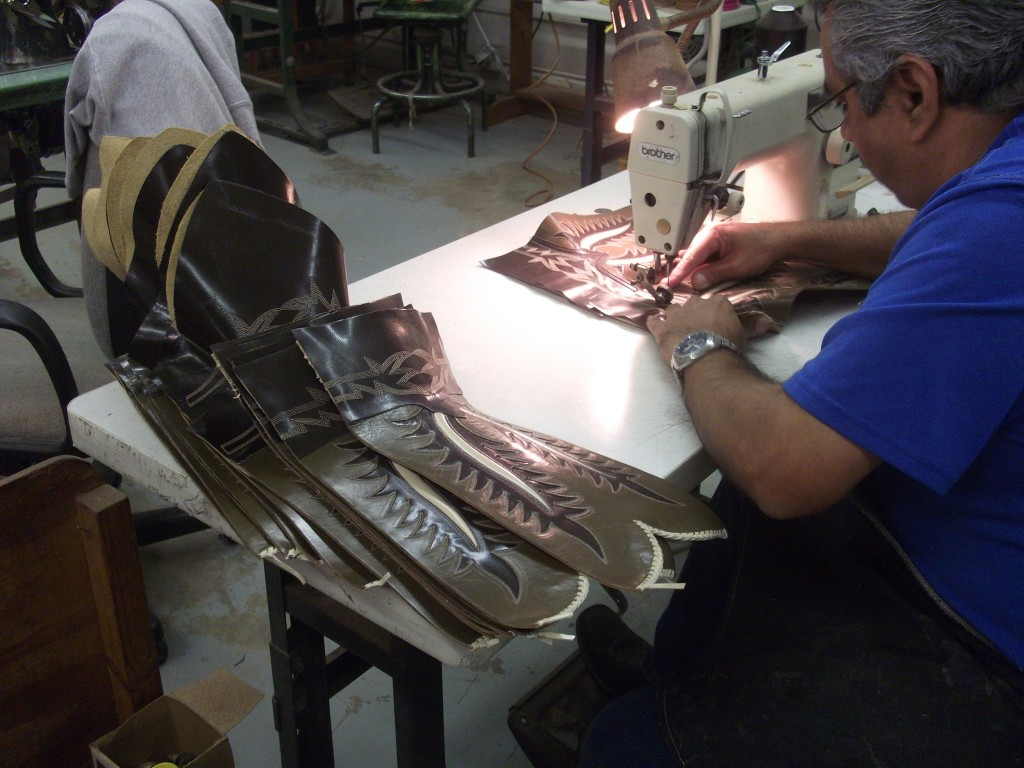 hand sewing cowboy boots at Rios of Mercedes
