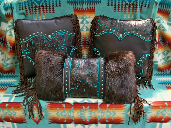 Chocolate and Turquoise Fringe Western Pillows