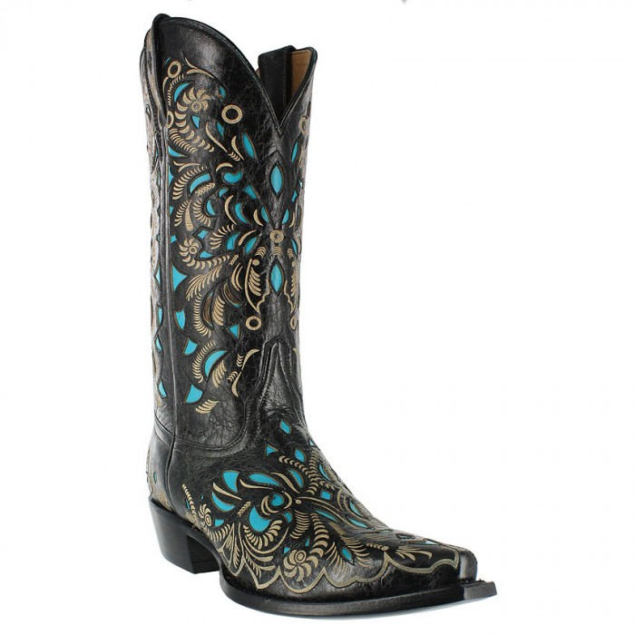 Shyanne Cowgirl Boot in Black & Turquoise