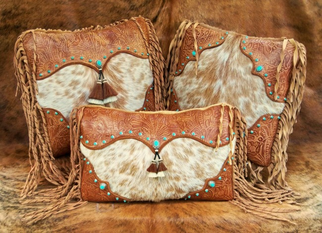 Tan Western Fringe Pillows with Turquoise Accents