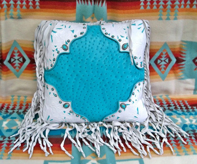 Turquoise and White Western Fringe Pillow