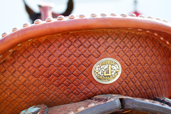 Tooled details on the back of the saddle