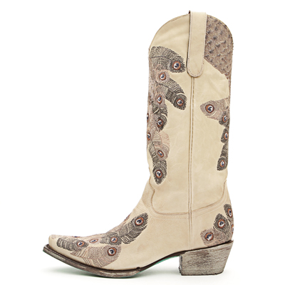 Lane Tail Feathers Cream Boots