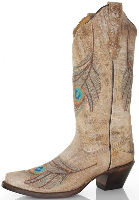 Corral cowboy boots with peacock embroidery