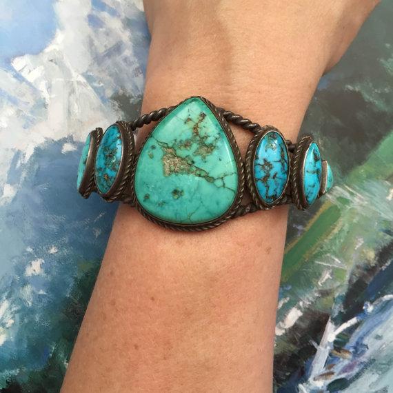 Antique turquoise bracelet