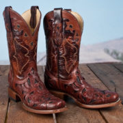 Corral brown carved leather cowboy boots