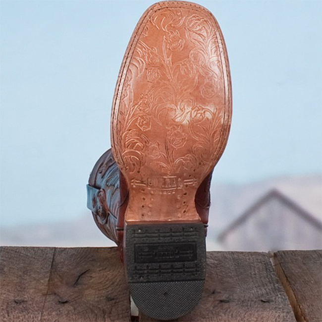 Corral carved leather cowboy boots