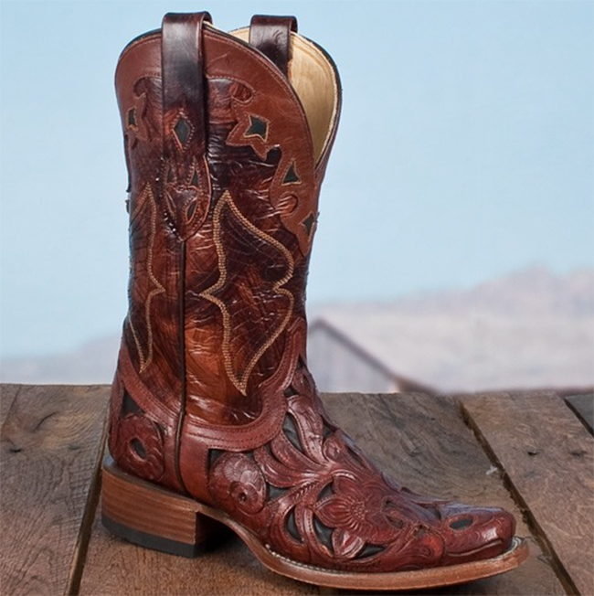 Corral carved leather square toe cowboy boots