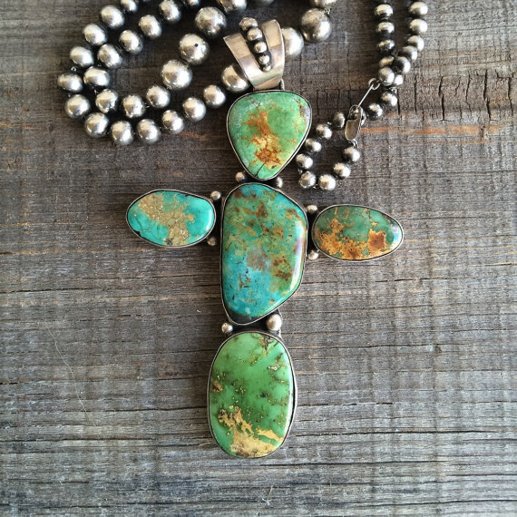 Massive turquoise cross necklace