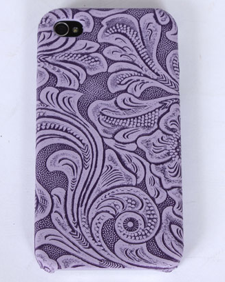Purple faux tooled leather iPhone case