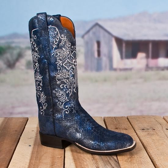 Blue Lucchese Python boots