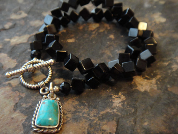 Turquoise & Black bracelet by Cowgirls Are Forever
