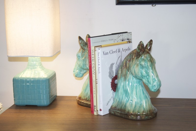 turquoise horse head bookends