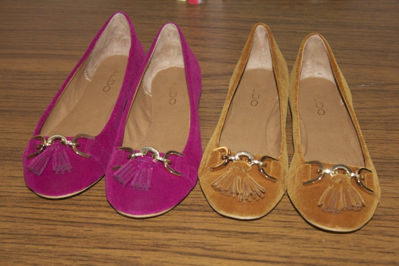 pink & brown suede flats