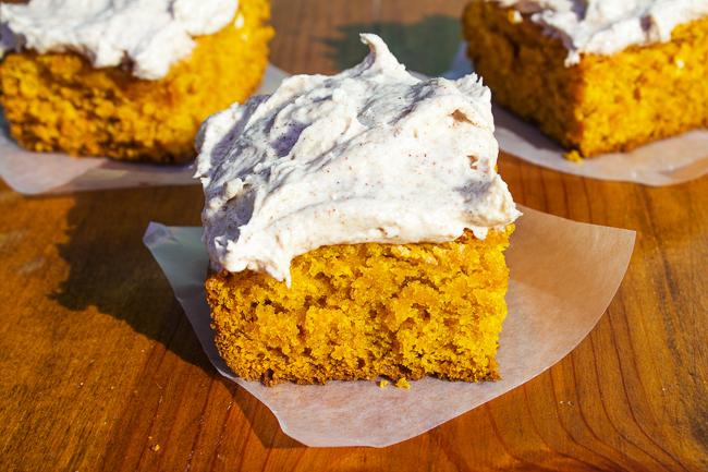 Pumpkin Bars with cinnamon cream cheese frosting