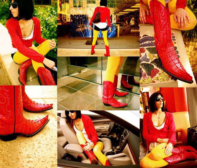 delaCav red cowboy boots