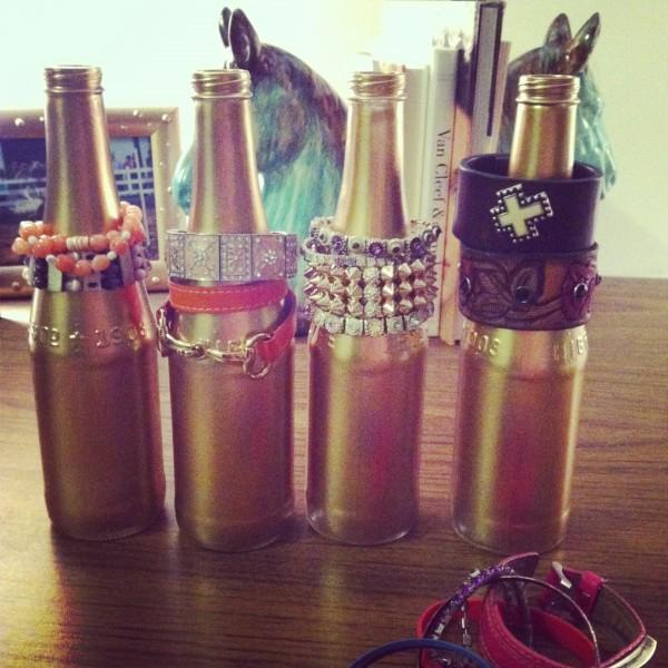 Spray Painted beer bottles