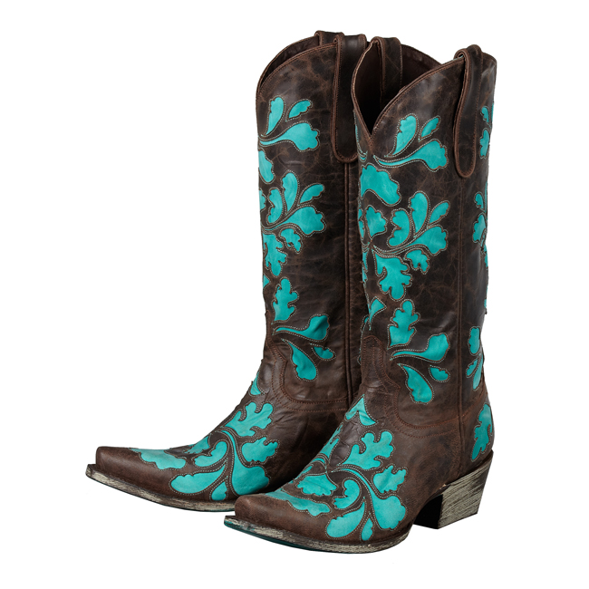 boots damask brown turquoise horses heels