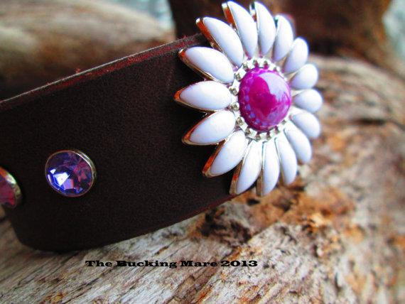 Purple daisy cuff by The Bucking Mare
