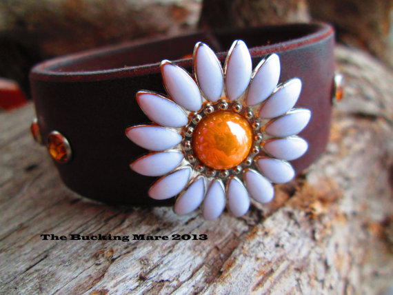 The Kaycee cuff with a yellow daisy concho