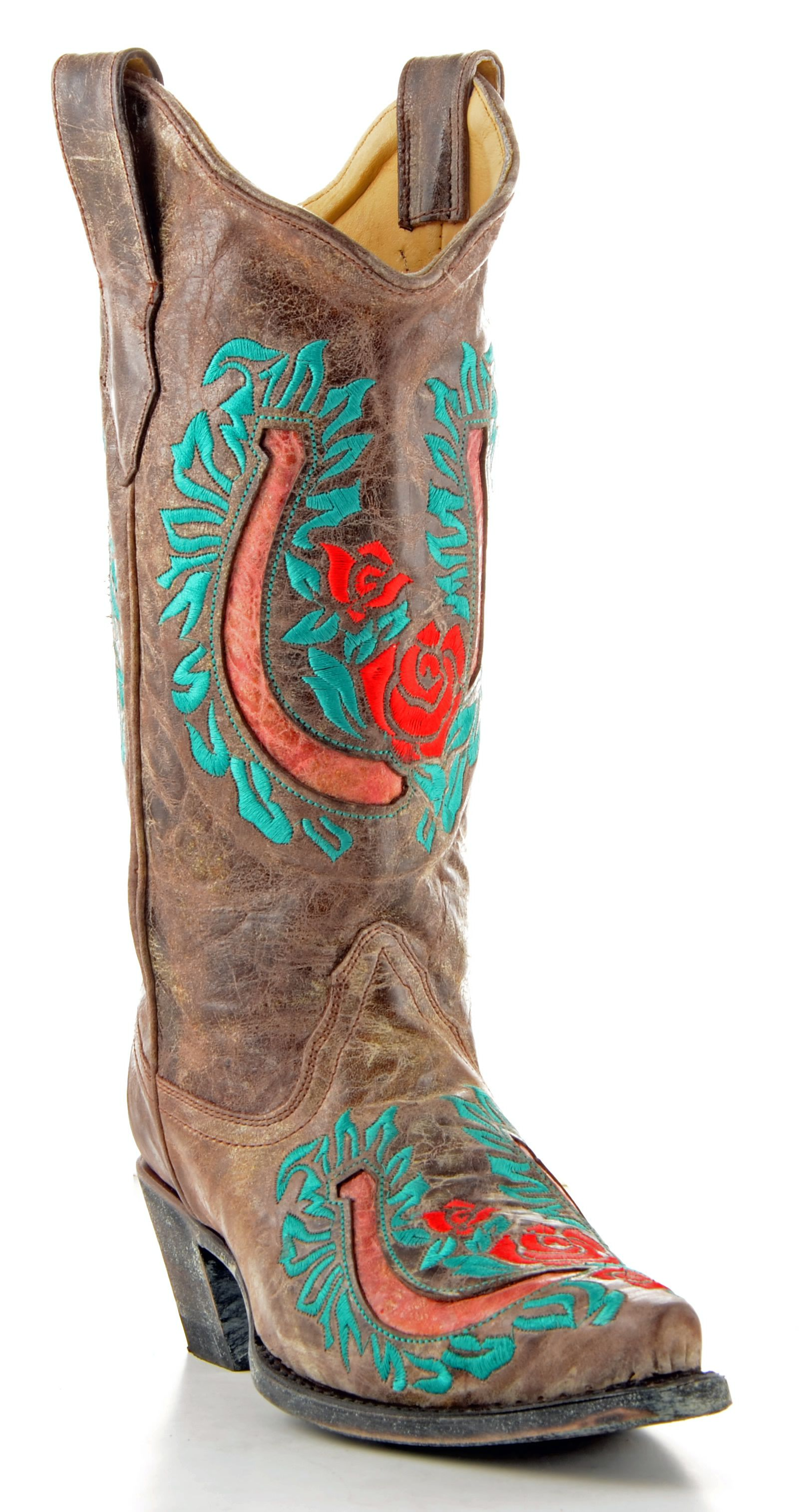 Corral Boots in Tabacco & Red