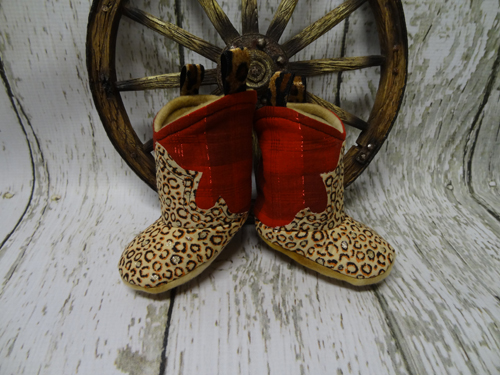 kid's red & leopard cowboy boot