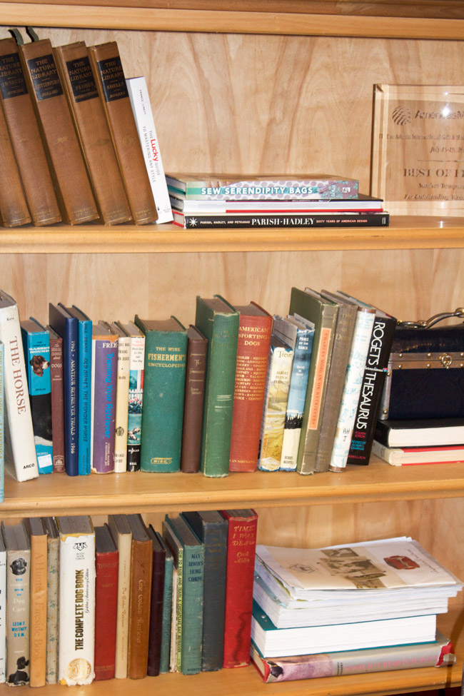 Bookshelf at the Rebecca Ray Designs office