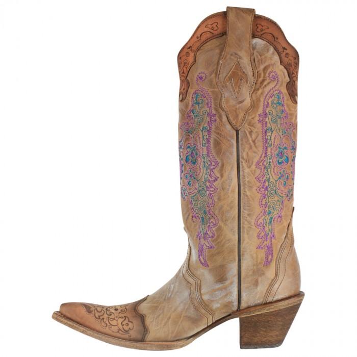 Corral Boots - purple & tan