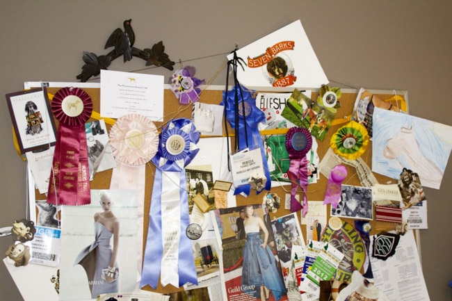 Inspiration board at the office of Rebecca Ray Designs
