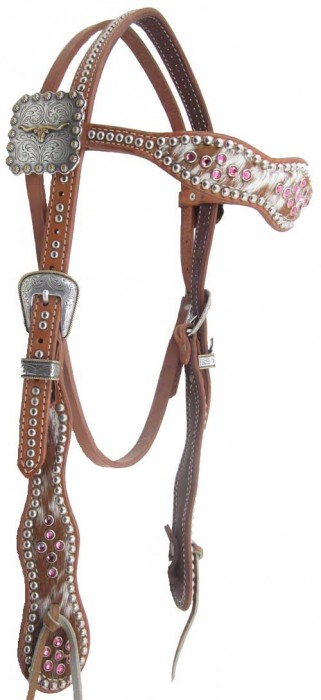 cowhide headstall with pink crystals
