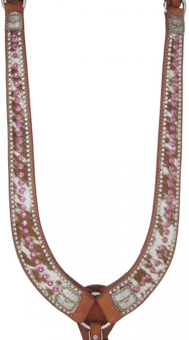 cowhide breast collar with pink crystals