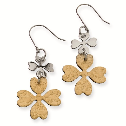 Gold & silver four leaf clover earrings