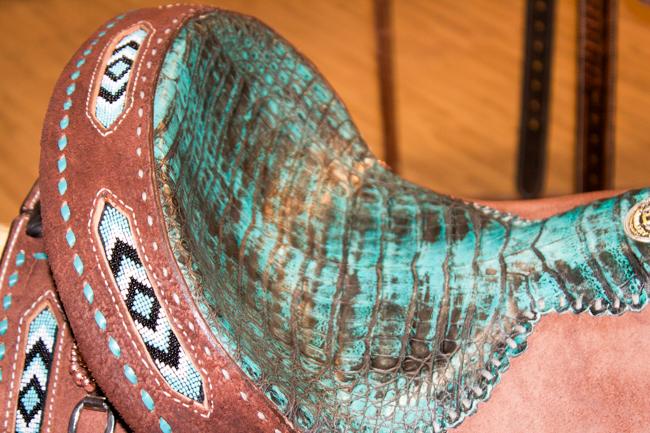 Double J Saddlery beaded turquoise saddle
