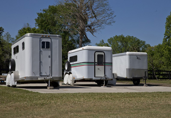 Horse trailers in the driveway