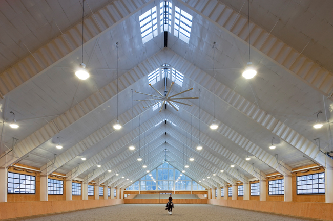 the interior riding arena at Riverlands Equestrian