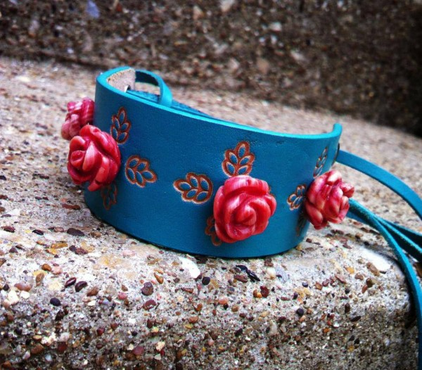 Turquoise leather cuff with red roses by Jesse's Jewelz