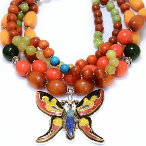 Bright & colorful butterfly necklace by Coreen Cordova