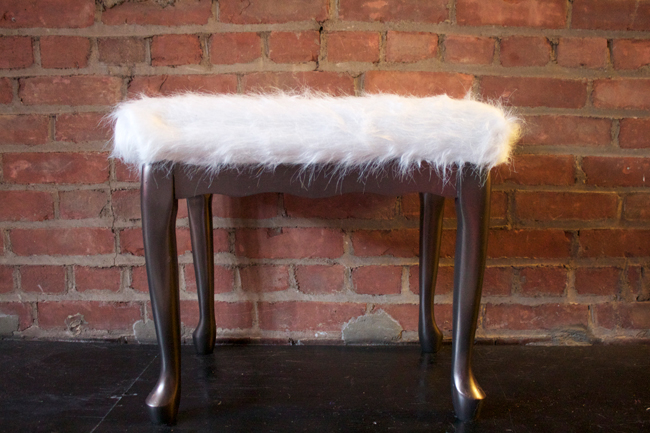 DIY faux sheepskin stool