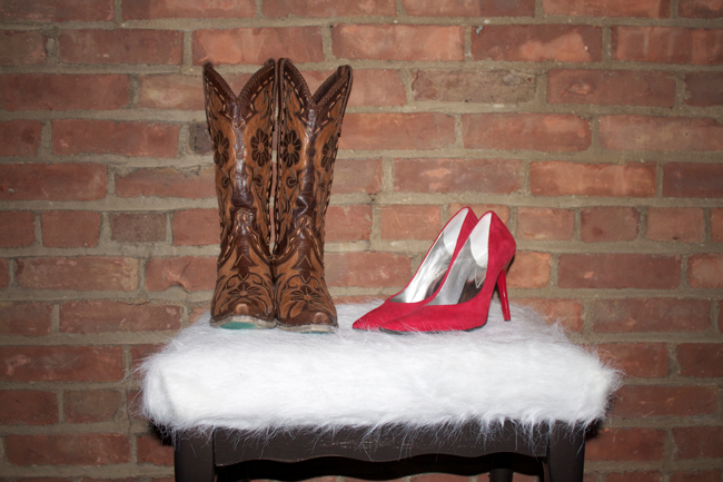 cowboy boots and heels on a DIY faux sheepskin stool