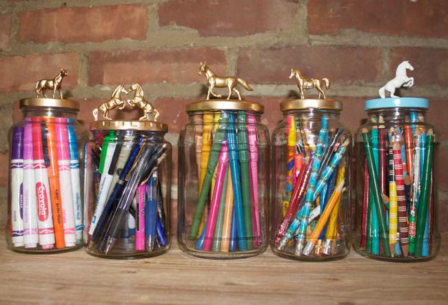 DIY decorative equine topped jars