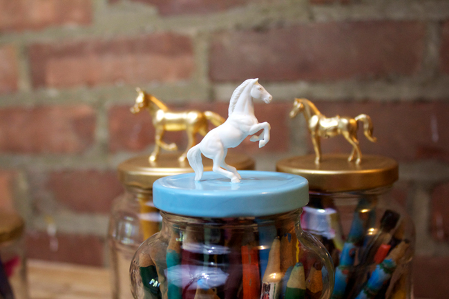 DIY fancy jar toppers with toy horses and spray paint